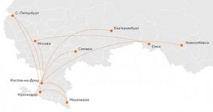 Направления авиакомпании Азимут